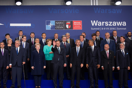 north atlantic treaty organization: WARSAW, POLAND - Jul 8, 2016: NATO summit. Group photo of participants of NATO summit in Warsaw Editorial