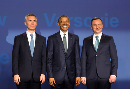 nato: WARSAW, POLAND - Jul 8, 2016: NATO summit. US President Barack Obama, NATO Secretary General Jens Stoltenberg and President of the Republic of Poland Andrzej Duda at the NATO summit in Warsaw
