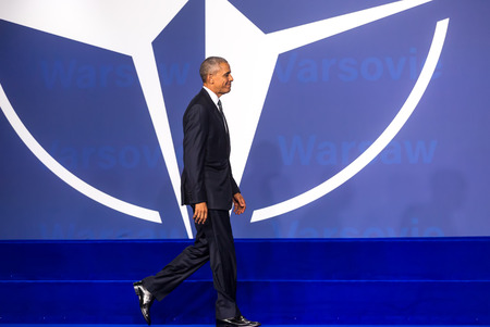 nato summit: WARSAW, POLAND - Jul 8, 2016: NATO summit. US President Barack Obama at the NATO summit in Warsaw