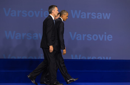 nato summit: WARSAW, POLAND - Jul 8, 2016: NATO summit. US President Barack Obama, NATO Secretary General Jens Stoltenberg and President of the Republic of Poland Andrzej Duda at the NATO summit in Warsaw