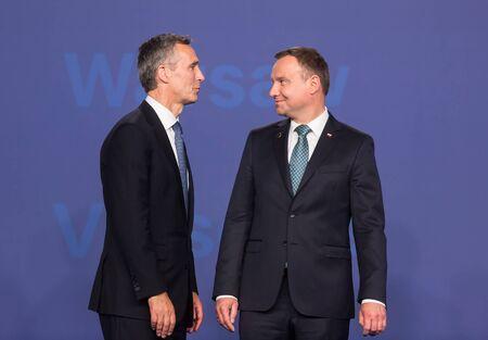 north atlantic treaty organization: WARSAW, POLAND - Jul 8, 2016: NATO summit. NATO Secretary General Jens Stoltenberg and President of the Republic of Poland Andrzej Duda at NATO summit Editorial
