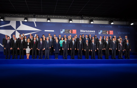 WARSAW, POLAND - Jul 8, 2016: NATO summit. Group photo of participants of NATO summit in Warsaw Editorial