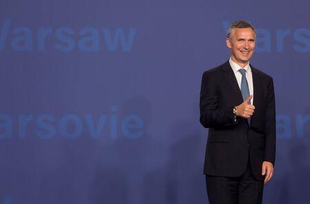 nato summit: WARSAW, POLAND - Jul 8, 2016: NATO summit. NATO Secretary General Jens Stoltenberg at NATO summit