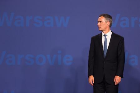 north atlantic treaty organization: WARSAW, POLAND - Jul 8, 2016: NATO summit. NATO Secretary General Jens Stoltenberg at NATO summit
