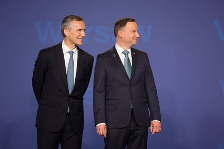 nato: WARSAW, POLAND - Jul 8, 2016: NATO summit. NATO Secretary General Jens Stoltenberg and President of the Republic of Poland Andrzej Duda at NATO summit Editorial