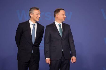 WARSAW, POLAND - Jul 8, 2016: NATO summit. NATO Secretary General Jens Stoltenberg and President of the Republic of Poland Andrzej Duda at NATO summit Editorial