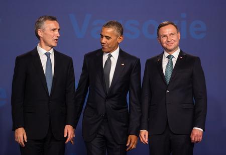 WARSAW, POLAND - Jul 8, 2016: NATO summit. US President Barack Obama, NATO Secretary General Jens Stoltenberg and President of the Republic of Poland Andrzej Duda at the NATO summit in Warsaw