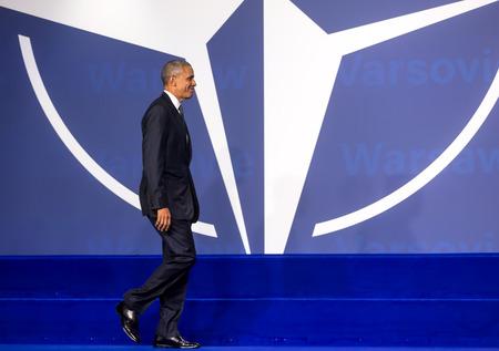 nato: WARSAW, POLAND - Jul 8, 2016: NATO summit. US President Barack Obama at the NATO summit in Warsaw