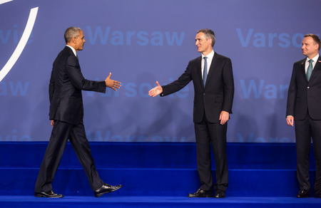 north atlantic treaty organization: WARSAW, POLAND - Jul 8, 2016: NATO summit. US President Barack Obama, NATO Secretary General Jens Stoltenberg and President of the Republic of Poland Andrzej Duda at the NATO summit in Warsaw