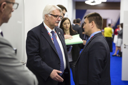 minister: WARSAW, POLAND - Jul 9, 2016: Minister of Foreign Affairs of Ukraine Pavlo Klimkin and Polish Foreign Minister Witold Waszczykowski during the NATO Summit