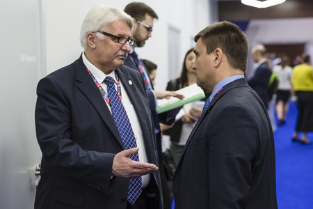 minister of war: WARSAW, POLAND - Jul 9, 2016: Minister of Foreign Affairs of Ukraine Pavlo Klimkin and Polish Foreign Minister Witold Waszczykowski during the NATO Summit
