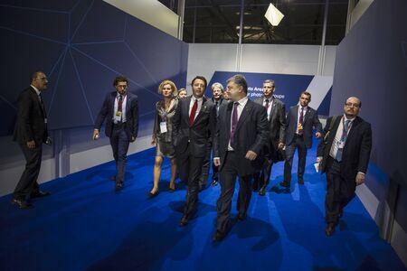 nato: WARSAW, POLAND - Jul 9, 2016: NATO summit. President of Ukraine Petro Poroshenko and Prime Minister of Italy Matteo Renzi before a meeting in the framework of NATO summit
