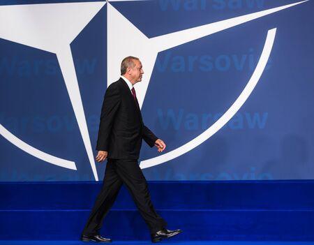 nato: WARSAW, POLAND - Jul 9, 2016: NATO summit. Turkish President Recep Tayyip Erdogan at the North Atlantic Treaty Organization summit in Poland Editorial