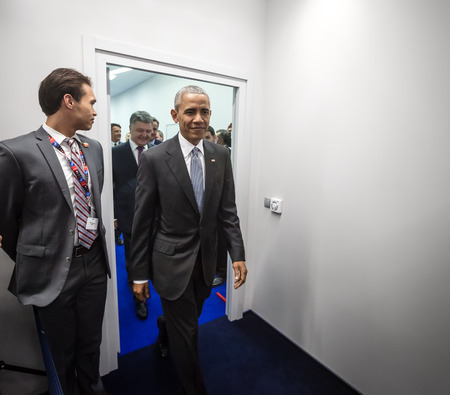 north atlantic treaty organization: WARSAW, POLAND - Jul 9, 2016: NATO summit. US President Barack Obama at the North Atlantic Treaty Organization summit in Poland
