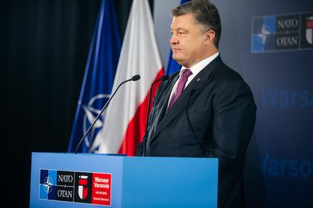 north atlantic treaty organization: WARSAW, POLAND - Jul 9, 2016: NATO summit. President of Ukraine Petro Poroshenko speaks at North Atlantic Treaty Organization summit