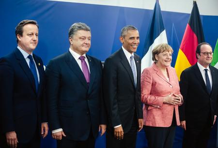 chancellor: WARSAW, POLAND - Jul 9, 2016: NATO summit. British Prime Minister Cameron, President Ukraine Poroshenko, US President Obama, Chancellor of Federal Republic Germany Merkel and French President Hollande