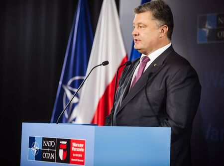 WARSAW, POLAND - Jul 9, 2016: NATO summit. President of Ukraine Petro Poroshenko speaks at North Atlantic Treaty Organization summit