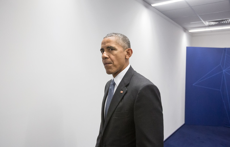 nato: WARSAW, POLAND - Jul 9, 2016: NATO summit. US President Barack Obama at the North Atlantic Treaty Organization summit in Poland