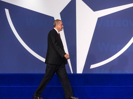 WARSAW, POLAND - Jul 9, 2016: NATO summit. Turkish President Recep Tayyip Erdogan at the North Atlantic Treaty Organization summit in Poland Editorial