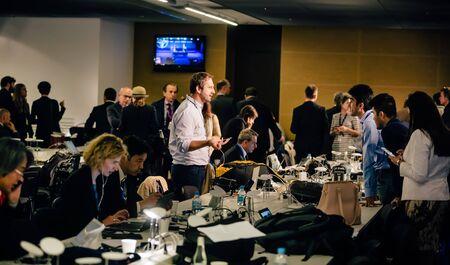 WARSAW, POLAND - Jul 9, 2016: North Atlantic Treaty Organization (NATO) summit in Warshaw, Poland. Working moments in the summit press center