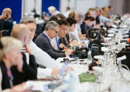 nato summit: WARSAW, POLAND - Jul 9, 2016: North Atlantic Treaty Organization (NATO) summit in Warshaw, Poland. Working moments in the summit press center