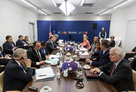 nato summit: WARSAW, POLAND - Jul 9, 2016: French President Hollande, President of Ukraine Poroshenko, US President Obama, British Prime Minister Cameron and German Chancellor Merkel during at NATO summit