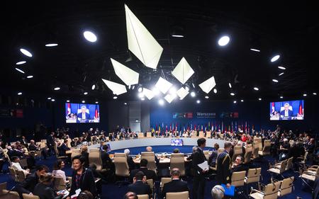 nato: WARSAW, POLAND - Jul 9, 2016: NATO sammit. World leaders during a meeting of the North Atlantic Treaty Organization summit in Warshaw, Poland Editorial