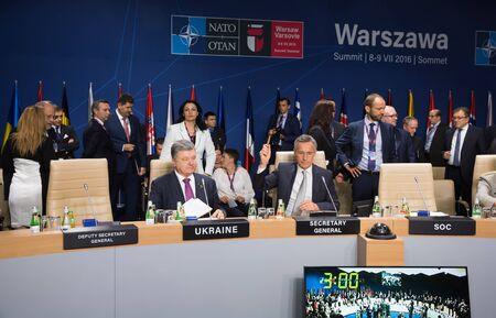 north atlantic treaty organization: WARSAW, POLAND - Jul 9, 2016: NATO Secretary General Jens Stoltenberg and President Ukraine Petro Poroshenko at North Atlantic Treaty Organization summit in Poland Editorial