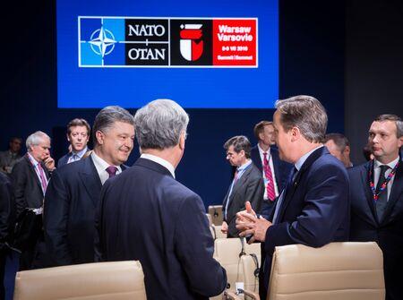 nato summit: WARSAW, POLAND - Jul 9, 2016: President of Ukraine Petro Poroshenko on the sidelines of the North Atlantic Treaty Organization summit in Poland