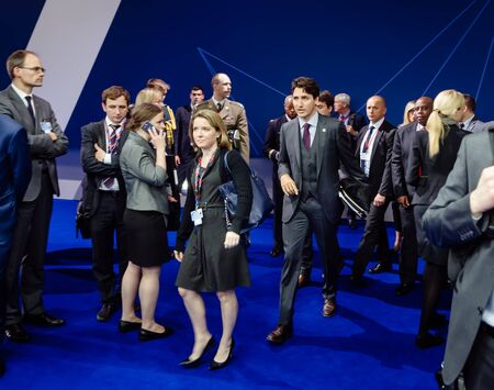 minister of war: WARSAW, POLAND - Jul 9, 2016: Prime Minister of Canada Justin Trudeau on the sidelines of the North Atlantic Treaty Organization summit in Poland Editorial