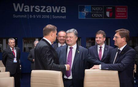 north atlantic treaty organization: WARSAW, POLAND - Jul 9, 2016: President of Ukraine Petro Poroshenko on the sidelines of the North Atlantic Treaty Organization summit in Poland