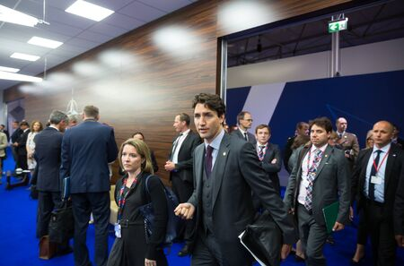 nato summit: WARSAW, POLAND - Jul 9, 2016: Prime Minister of Canada Justin Trudeau on the sidelines of the North Atlantic Treaty Organization summit in Poland Editorial