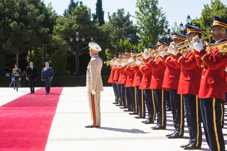 baku: BAKU, AZERBAIJAN - Jul 14, 2016: Official meeting ceremony of President of Ukraine Petro Poroshenko and President of Azerbaijan Ilham Aliyev in Baku.
