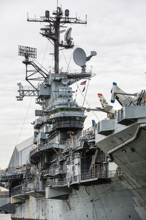 NEW YORK, USA - Apr 29, 2016: Aircraft carrier USS Intrepid fought in World War II. Today Intrepid is berthed on Hudson River as centerpiece of Intrepid Sea, Air and Space Museum