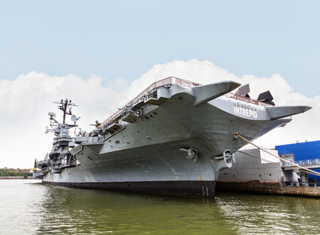 aircraft carrier: NEW YORK, USA - Apr 29, 2016: Aircraft carrier USS Intrepid fought in World War II. Today Intrepid is berthed on Hudson River as centerpiece of Intrepid Sea, Air and Space Museum