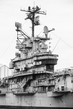 intrepid: NEW YORK, USA - Apr 29, 2016: Aircraft carrier USS Intrepid fought in World War II. Today Intrepid is berthed on Hudson River as centerpiece of Intrepid Sea, Air and Space Museum