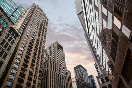 Evening in New York City. Manhattan modern architecture