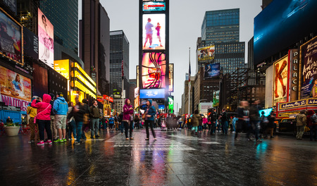42nd: NEW YORK, USA - Apr 30, 2016: Times Square in the eveningin. Brightly adorned with billboards and advertisements, Times Square is sometimes referred to as The Crossroads and The Heart of the World