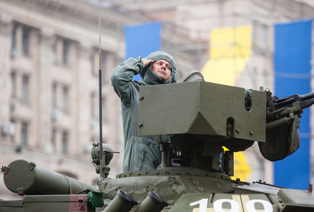 KIEV, UKRAINE - Aug 24, 2015: Military parade in Kiev. Tank column during the march of Independence on the occasion of 25th anniversary of Independence of Ukraine