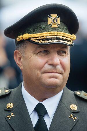 troops: KIEV, UKRAINE - Aug 24, 2015: Stepan Poltorak. Defense Minister of Ukraine. General of Army of Ukraine. Commander of the Interior Troops of Ukraine, commander of the National Guard of Ukraine Editorial