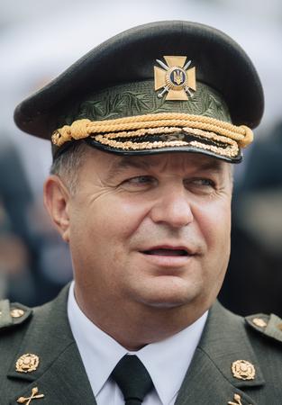 commander: KIEV, UKRAINE - Aug 24, 2015: Stepan Poltorak. Defense Minister of Ukraine. General of Army of Ukraine. Commander of the Interior Troops of Ukraine, commander of the National Guard of Ukraine Editorial