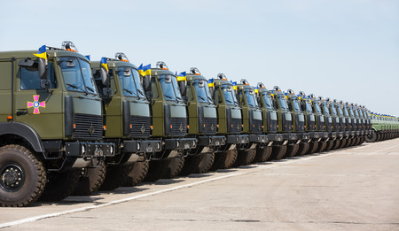 weaponry: KHARKIV REG., UKRAINE - Aug 23, 2015: Weaponry and military equipment of the armed forces of Ukraine before being sent to the war zone in eastern Ukraine Editorial