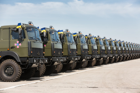 reg: KHARKIV REG., UKRAINE - Aug 23, 2015: Weaponry and military equipment of the armed forces of Ukraine before being sent to the war zone in eastern Ukraine Editorial