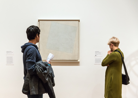 artwork painting: NEW YORK, USA - May 01, 2016: People inside Museum of Modern Art. MoMAs collection offers an overview of modern and contemporary art, architecture, design, drawing, painting, sculpture, photography Editorial