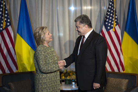 presidency: NEW YORK, USA - Sep 20, 2016: Candidate for Presidency of the United States Hillary Clinton during a meeting with President of Ukraine Petro Poroshenko