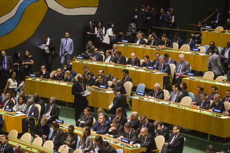 foreign nation: NEW YORK, USA - Sep 20, 2016: President of Ukraine Petro Poroshenko with the Ukrainian delegation at the opening of the 71st session of the United Nations General Assembly