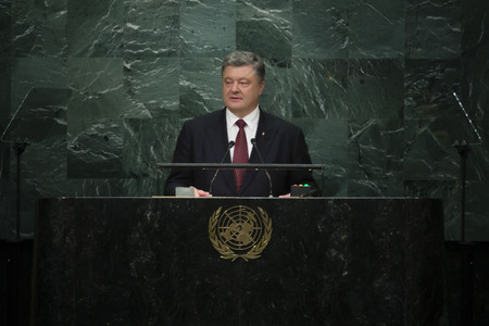 un: NEW YORK, USA - Sep 21, 2016: Speech by the President of Ukraine Petro Poroshenko during the 71 th session of the UN General Assembly in New York Editorial