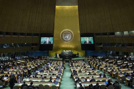 NEW YORK, USA - Sep 21, 2016: Speech by the President of Ukraine Petro Poroshenko during the 71 th session of the UN General Assembly in New York Editorial