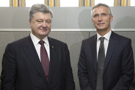 nato summit: NEW YORK, USA - Sep 21, 2016: President of Ukraine Petro Poroshenko and NATO Secretary General Jens Stoltenberg during a meeting in New York