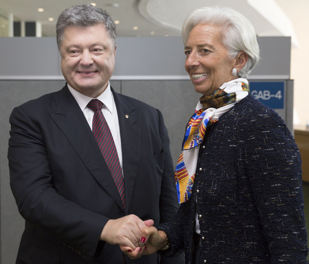 christine: NEW YORK, USA - Sep 21, 2016: President of Ukraine Petro Poroshenko and the director of the International Monetary Fund Christine Lagarde during a meeting in New York